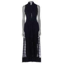 Victorian Black Lace Jet Beaded Collar & Bodice Dress