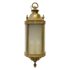 1900s Large Scale Bronze and Frosted Glass Lantern Pendant