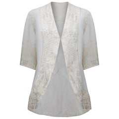 1900s  Late Edwardian Embroidered Soutache Ivory Silk Jacket
