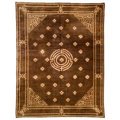 1900s Mongolian Chocolate Brown Handmade Wool Carpet