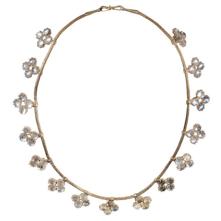 Victorian 1900s Moonstone Quatrefoil Fringe Necklace For Sale