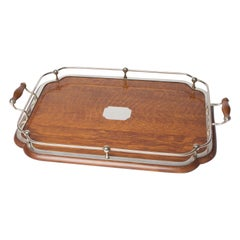 1900's Oak and Silver Plate Tray