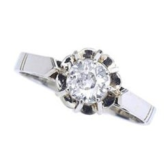 1900s Old Mine Cut Diamond on White Gold Solitaire