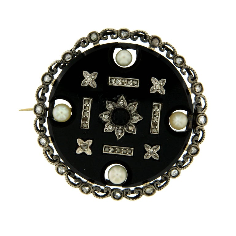1900s Onyx Pearl Diamond Gold Brooch