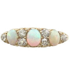 1900s Opal and Diamond Yellow Gold Cocktail Ring