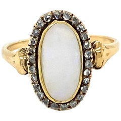1900s Opal Diamond Cluster Ring
