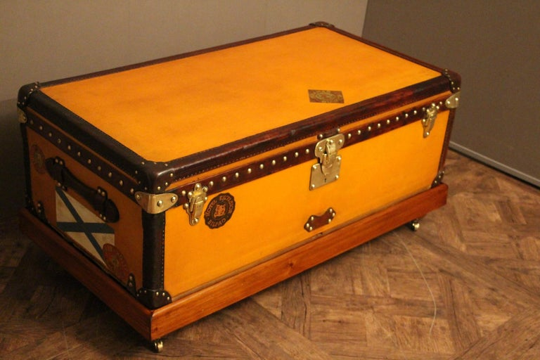 1900s Orange Canvas Louis Vuitton Steamer Trunk 12