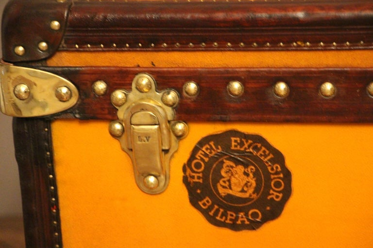 1900s Orange Canvas Louis Vuitton Steamer Trunk In Good Condition In Saint-Ouen, FR