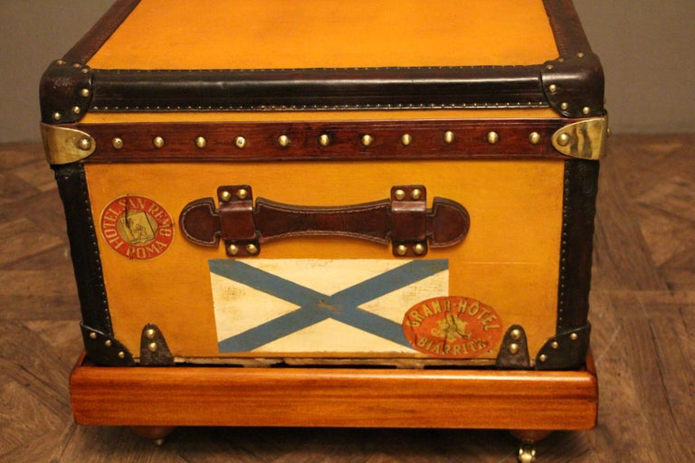 Brass 1900s Orange Canvas Louis Vuitton Steamer Trunk
