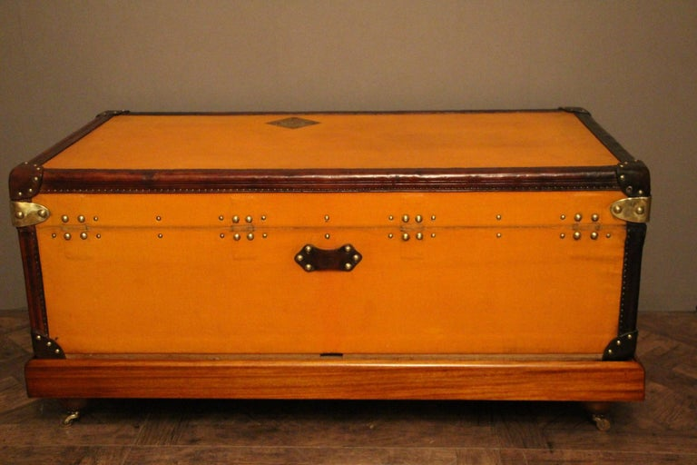 1900s Orange Canvas Louis Vuitton Steamer Trunk 2