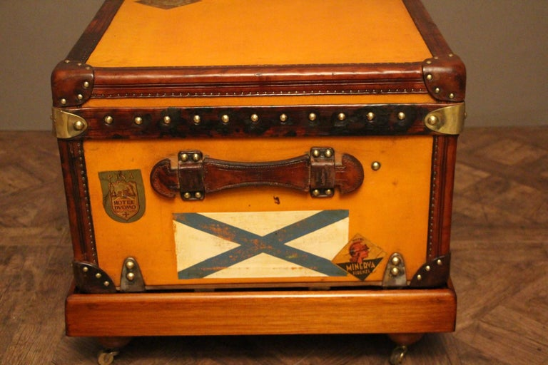 1900s Orange Canvas Louis Vuitton Steamer Trunk 3
