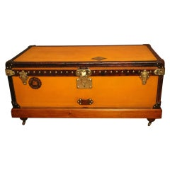 1900s Orange Canvas Louis Vuitton Steamer Trunk