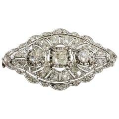 1900s Oval Diamond Filigree Platinum Yellow Gold Brooch