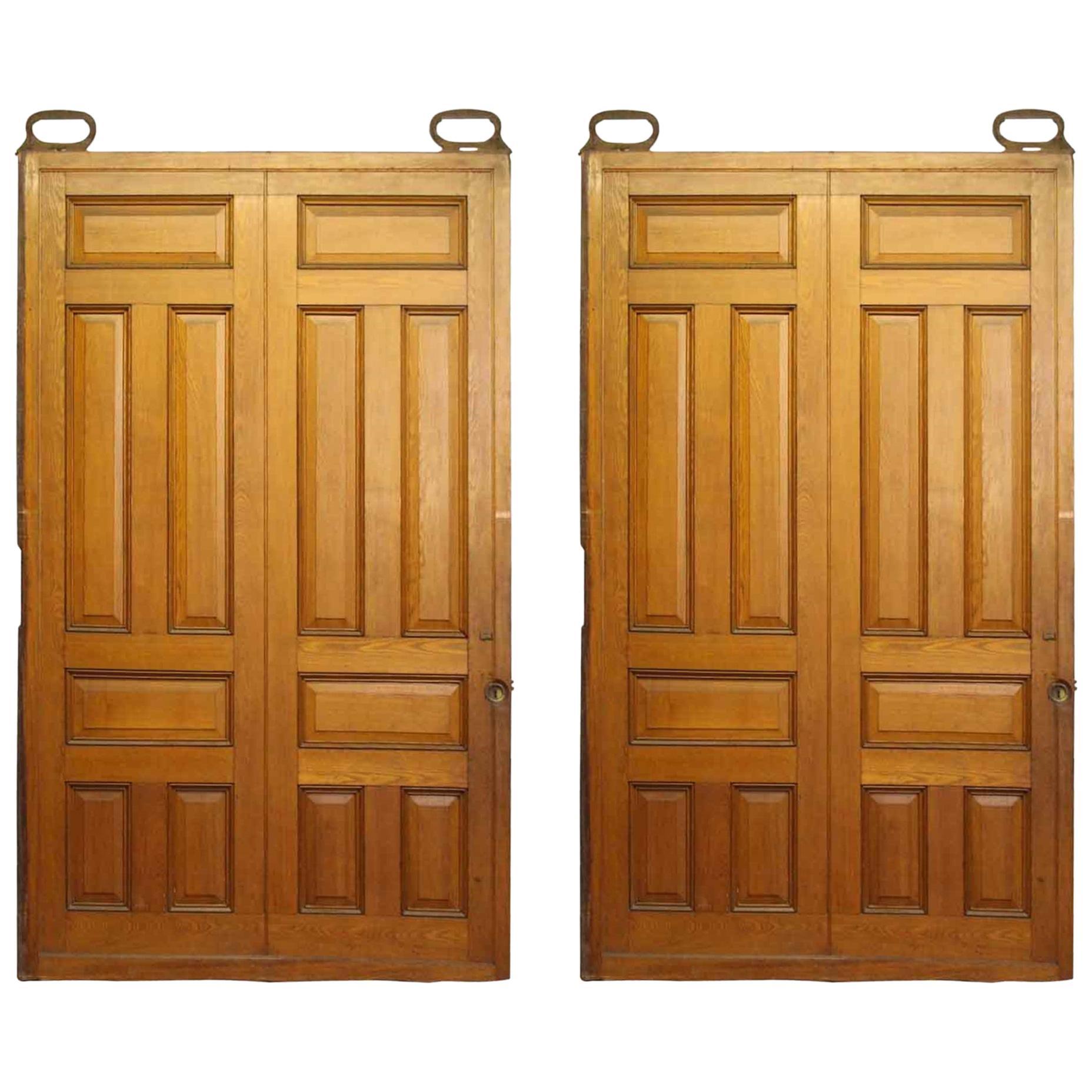 1900s Pair of Antique 6 Panel Oak Pocket Doors