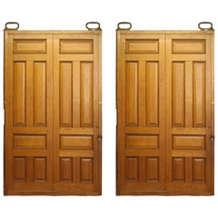 1900s Pair of Antique 6 Panel Oak Pocket Doors