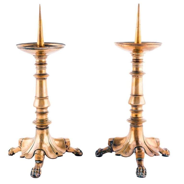 1900s Pair of Brass Altar Pricket Sticks