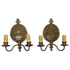 1900s Pair of Detailed Cast Bronze Georgian Style Wall Sconces with Two Arms
