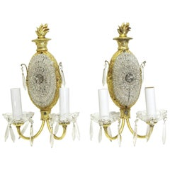1900s Pair of French Bronze & Crystal Beaded Gold Gilded Bronze Two-Arm Sconces