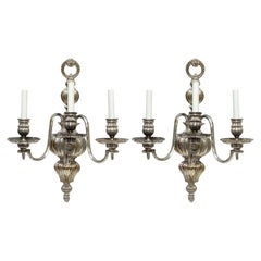 1900s Pair of Georgian Style Three-Arm Caldwell Sconces by EF Caldwell