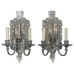 1900s Pair of Two Light American Silvered Bronze Wall Sconces by E.F Caldwell