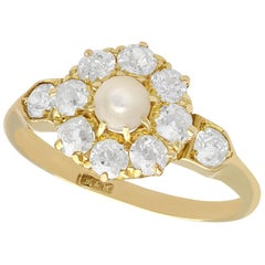 1900s Pearl 1.15 Carat Diamond Yellow Gold Cluster Ring