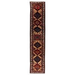 1900s Persian Hamadan Geometric Floral Handwoven Wool Runner