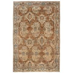 1900s Persian Kirman Brown, Beige and Blue Handmade Wool Rug