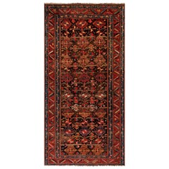 1900s Persian Malayer Geometric Handmade Wool Rug in Red, Blue, Yellow and Black