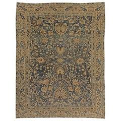 1900s Persian Meshad Indigo Blue, Beige and Brown Handmade Wool Rug
