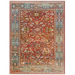 1900s Persian Sultanabad Red, White and Blue Handwoven Wool Rug