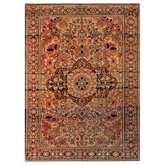 1900s Persian Tabriz Brown, Pink and Red Handmade Wool Rug