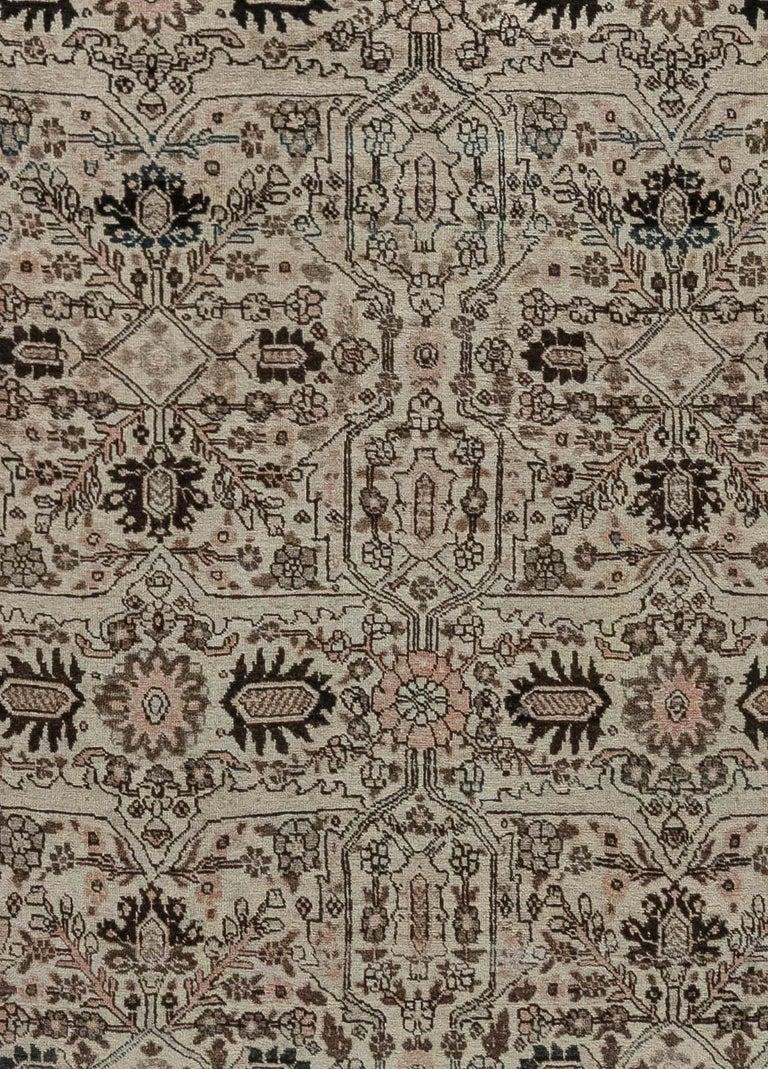 1900s Persian Tabriz handmade wool carpet Size: 12'4