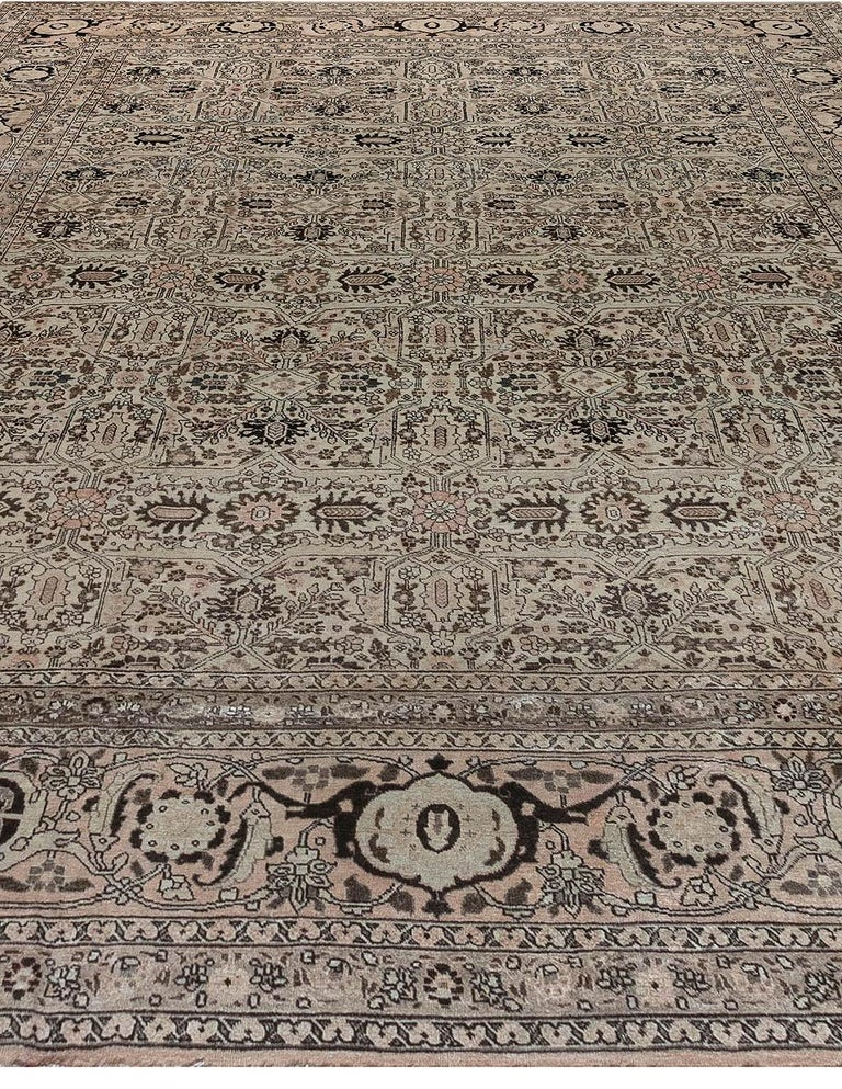 1900s Persian Tabriz Handmade Wool Carpet In Good Condition For Sale In New York, NY
