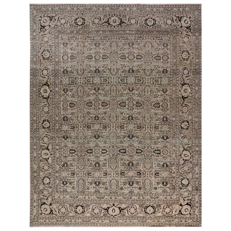 1900s Persian Tabriz Handmade Wool Carpet For Sale