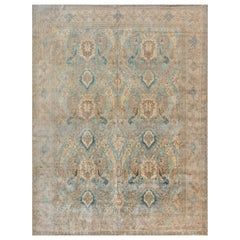 1900s Persian Tabriz Light Blue, Cream and Rust Handmade Wool Rug