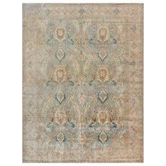 1900s Persian Tabriz Light Blue, Cream and Rust Handmade Wool Rug