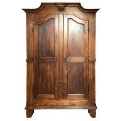 1900s Piedmontese Wardrobe Poplar Sideboard Pantry Cabinet