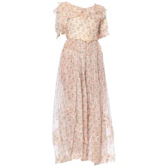 1900S Pink & Blue Floral Organic Cotton Lawn Boned Ruffled Top + Prairie Skirt