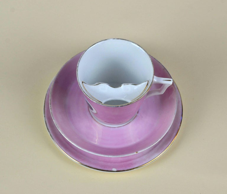 1900s Porcelain Souvenir Mustache Cup in Antique Pink Lustre Made in Germany For Sale 6