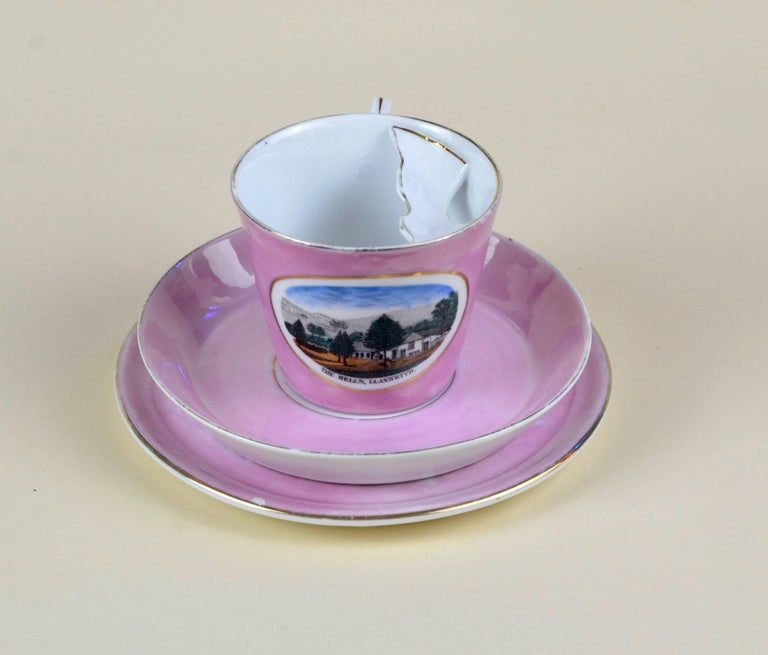 Edwardian 1900s Porcelain Souvenir Mustache Cup in Antique Pink Lustre Made in Germany For Sale