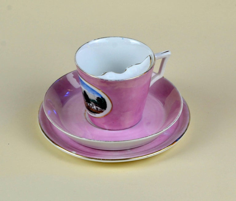 1900s Porcelain Souvenir Mustache Cup in Antique Pink Lustre Made in Germany For Sale 1