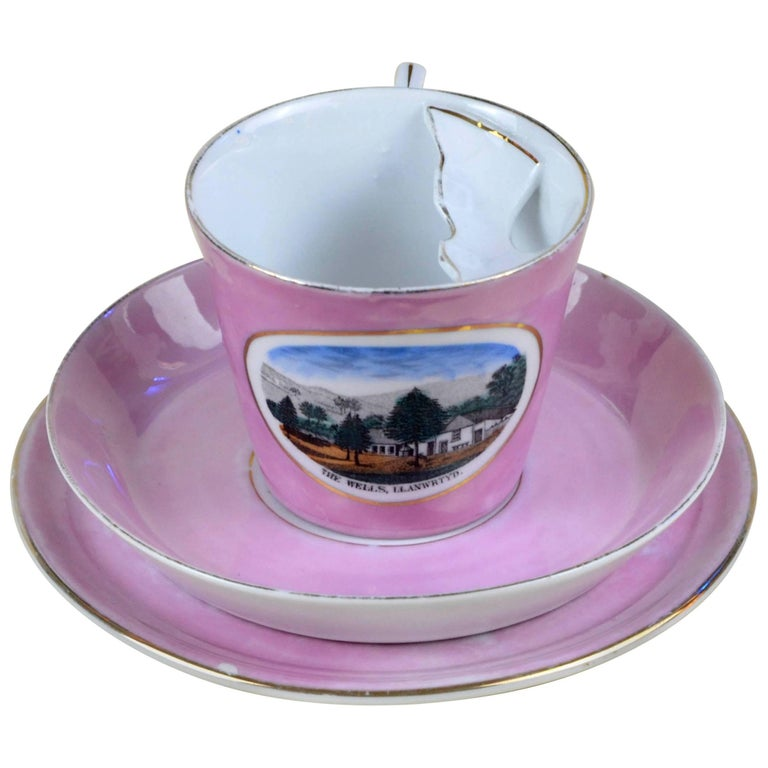 1900s Porcelain Souvenir Mustache Cup in Antique Pink Lustre Made in Germany For Sale