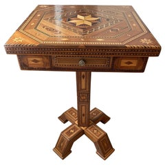 1900s Prisoner-Made Marquetry Inlay Side Table