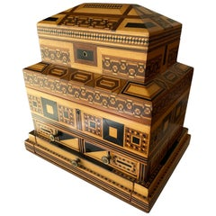 1900s Prisoner-Made Marquetry Inlay Wood Box in Masonic Temple Design