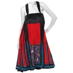 1900S QUING DYNASTY Red & Black Silk Hand Embroidered Chinese Dress Made From A