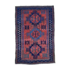 1900s Red Antique Caucasian Pure Wool Hand Knotted Oriental Rug