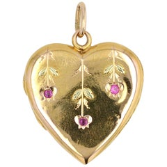 1900s Ruby 18 Karat Yellow Gold Heart Pendant