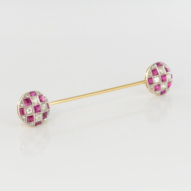 1900s Ruby Diamond Yellow Gold Jabot Pin For Sale 6