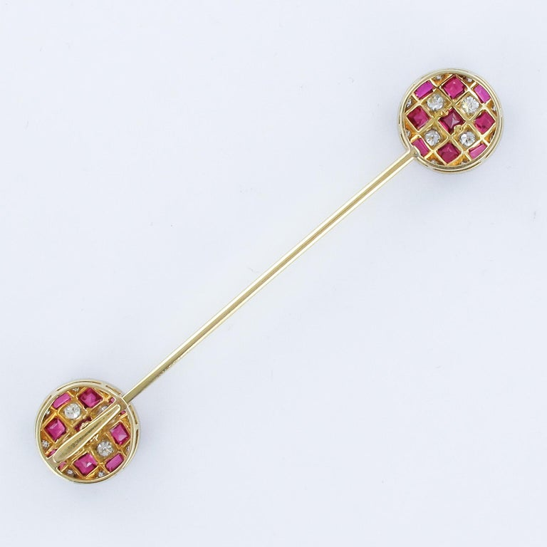 1900s Ruby Diamond Yellow Gold Jabot Pin For Sale 7