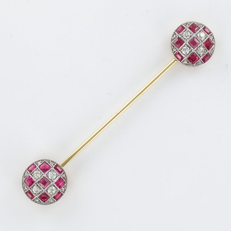 1900s Ruby Diamond Yellow Gold Jabot Pin For Sale 8